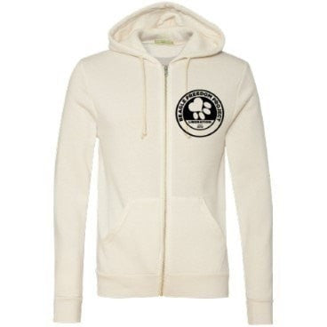FTLA Apparel ~ For The Love of Animals Apparel:  Unisex Sweatshirts - Unisex Rescue + Freedom Project FTLA Apparel - From Labs to Laps FREAGLES!  - Eco Ivory  Unisex Zip up Hoodie Sweatshirt
