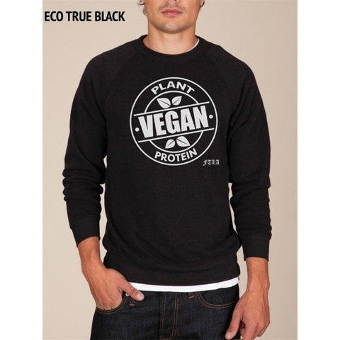 FTLA Apparel Unisex Eco Fleece Crewneck Sweatshirt - Vegan Plant Protein-Unisex Sweatshirts-FTLA Apparel-S-Eco True Black-For The Love of Animals Apparel
