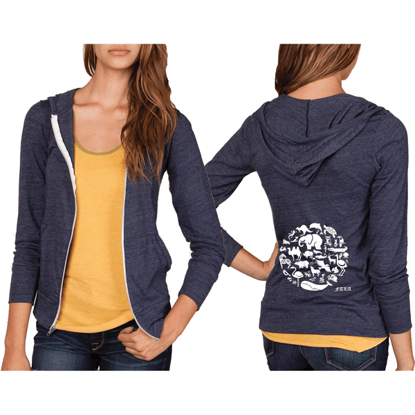 FTLA Apparel ~ For The Love of Animals Apparel:  Unisex Lightweight Sweatshirt - Unisex Eco Jersey True Navy Hooded Zip Up Sweatshirt - Co-Exist - Small - 2XL