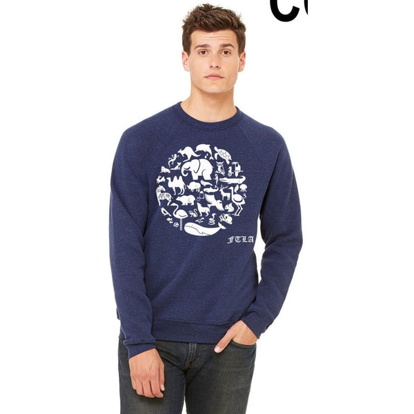 FTLA Apparel ~ For The Love of Animals Apparel:  Unisex Sweatshirts - Unisex Navy Triblend  Fleece Crewneck Sweatshirt - CO-EXIST
