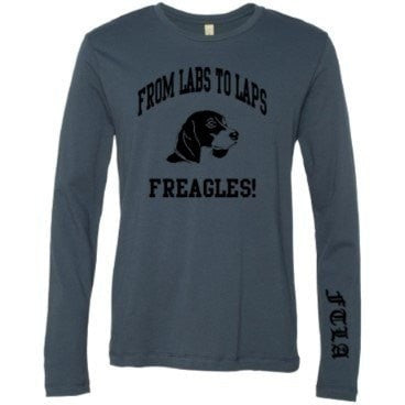 FTLA Apparel ~ For The Love of Animals Apparel:  Unisex - Unisex / Plus Size  Beagle Freedom FTLA Apparel - From Labs to Laps FREAGLES!  - Navy Long Sleeve Tee