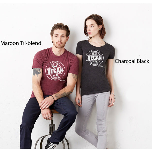 FTLA Apparel Unisex Tri-Blend Jersey Tee - Vegan Plant Protein-Unisex T-Shirt-FTLA Apparel-XS-Maroon-For The Love of Animals Apparel