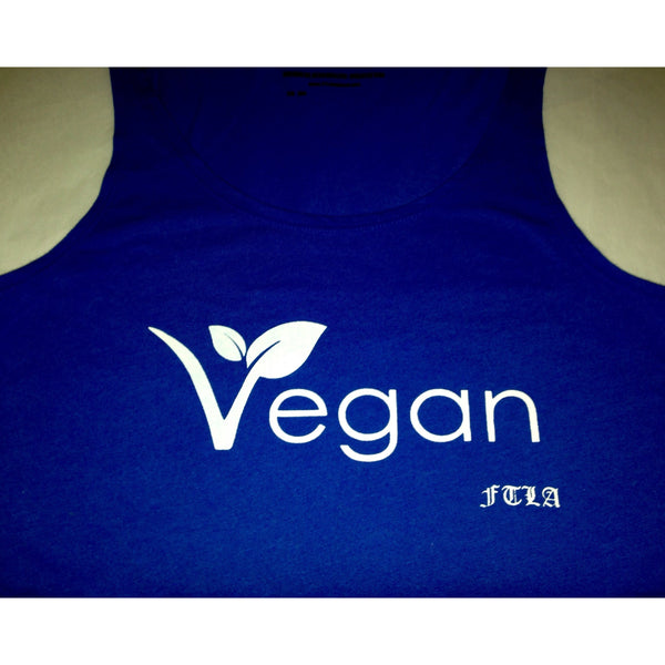 FTLA Apparel ~ For The Love of Animals Apparel:  Crop Top - Vegan Leaf Royal Blue Cotton Crop Top