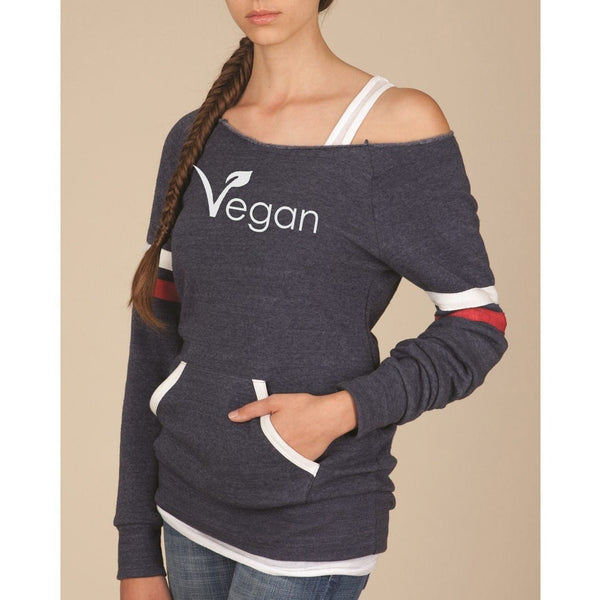 FTLA Apparel ~ For The Love of Animals Apparel:  Eco Fleece Off The Shoulder Sweatshirt - VEGAN Off the Shoulder Eco Fleece Sweatshirt Eco True Navy | Vegan