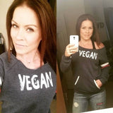 FTLA Apparel ~ For The Love of Animals Apparel:  Eco Fleece Off The Shoulder Sweatshirt - VEGAN Off the Shoulder Eco Fleece Sweatshirt | Vegan Sprout