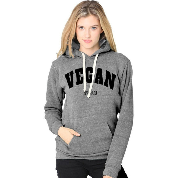 FTLA Apparel ~ For The Love of Animals Apparel:  Unisex Sweatshirts - VEGAN Unisex Eco Grey Fleece Hooded Pullover – Vegan FTLA | For The Love of Animals XS-2XL