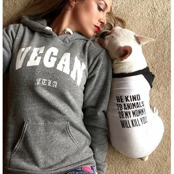 FTLA Apparel VEGAN Unisex Eco Grey Fleece Hooded Pullover – Vegan FTLA | For The Love of Animals XS-2XL-Unisex Sweatshirts-FTLA Apparel-XS-White Ink-For The Love of Animals Apparel