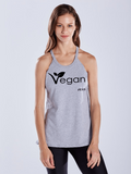 FTLA Apparel Warrior Goddess Heather Charcoal Raw Edge Vegan Leaf Tank Top-Tank Top-FTLA Apparel-Small-Heather Grey-For The Love of Animals Apparel