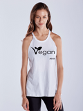 FTLA Apparel Warrior Goddess Heather Charcoal Raw Edge Vegan Leaf Tank Top-Tank Top-FTLA Apparel-Small-White-For The Love of Animals Apparel