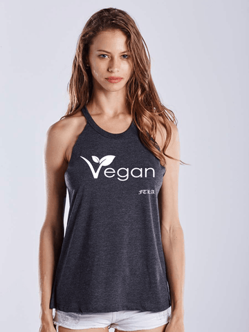 FTLA Apparel Warrior Goddess Heather Charcoal Raw Edge Vegan Leaf Tank Top-Tank Top-FTLA Apparel-Small-Heather Charcoal-For The Love of Animals Apparel