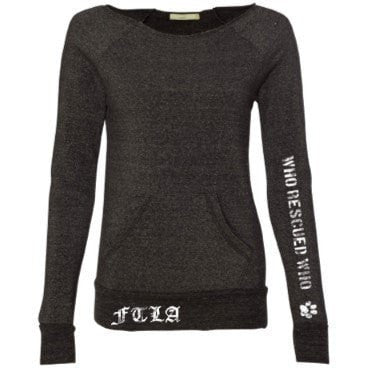 FTLA Apparel Who Rescued Who Off the Shoulder Eco-Fleece Sweatshirt-Off The Shoulder Sweatshirt-FTLA Apparel-S-Eco-Black-For The Love of Animals Apparel
