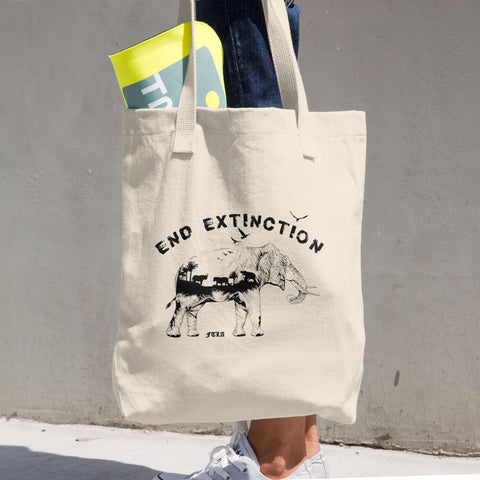FTLA Apparel ~ For The Love of Animals Apparel:  Tote Bag - End Extinction Cotton Tote Bag