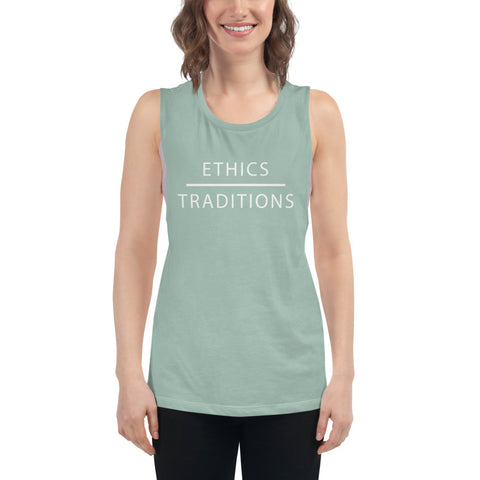 FTLA Apparel ~ For The Love of Animals Apparel:   - Ethics Over Traditions Ladies' Muscle Tank