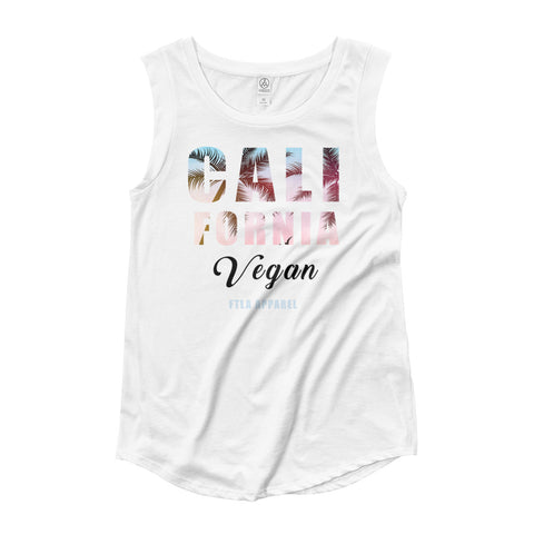 FTLA Apparel ~ For The Love of Animals Apparel:  Tank Top - CALIFORNIA VEGAN Cap Sleeve Tank Top
