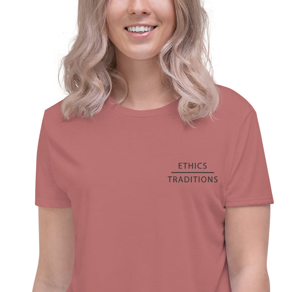 FTLA Apparel ~ For The Love of Animals Apparel:   - Ethics Over Traditions Embroidered Crop Top Mauve