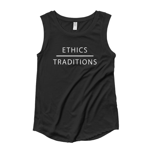 FTLA Apparel ~ For The Love of Animals Apparel:   - Ethics Over Traditions Ladies' Cap Sleeve Tank