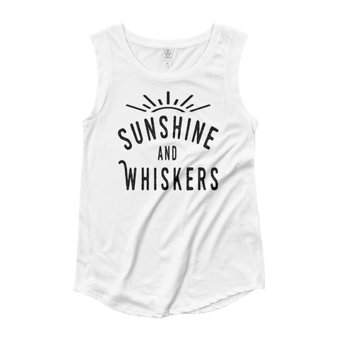 Sunshine and Whiskers Ladies' Cap Sleeve Tank Top