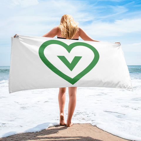 FTLA Apparel ~ For The Love of Animals Apparel:  Towel - Vegan Heart Towel