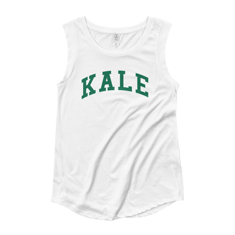 FTLA Apparel ~ For The Love of Animals Apparel:  Women's Muscle Tank - KALE White Ladies' Cap Sleeve Tank Top