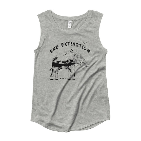 FTLA Apparel ~ For The Love of Animals Apparel:  Tank Top - End Extinction Ladies' Grey Cap Sleeve Tank Top