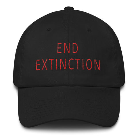 FTLA Apparel ~ For The Love of Animals Apparel:  Hats - FTLA Apparel Low Profile Baseball Hat End Extinction Embroidered Baseball Cap