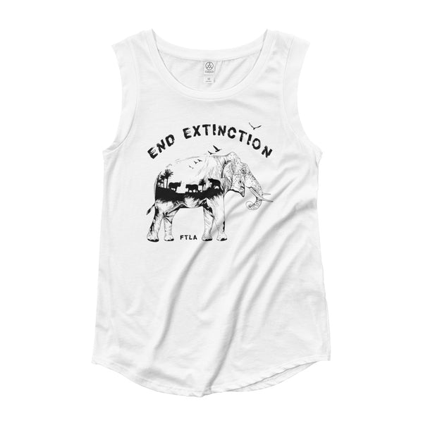 FTLA Apparel ~ For The Love of Animals Apparel:  Tank Top - End Extinction Ladies' Cap Sleeve Tank Top