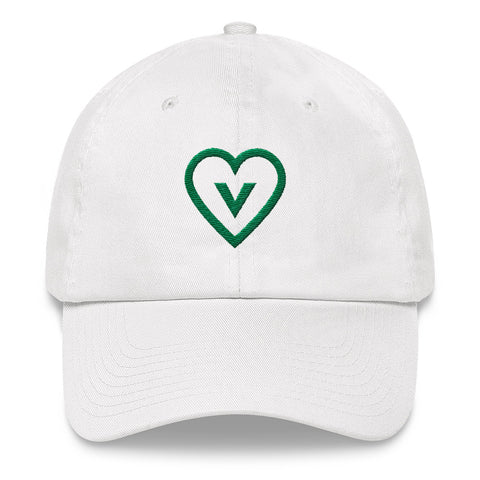 FTLA Apparel ~ For The Love of Animals Apparel:  Hats - Embroidered Green Vegan Heart Baseball Cap