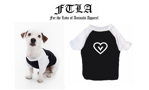 FTLA Apparel ~ For The Love of Animals Apparel:  Doggy Clothes - Vegan Heart Cotton 3/4 Sleeve Dog Raglan Tee