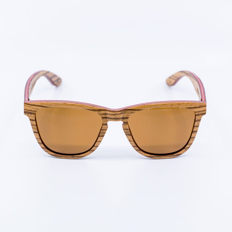 layered wayfarer recycled skateboard wood sunglasses