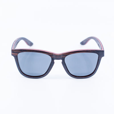 black wayfarer recycled skateboard wood sunglasses