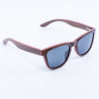 brown wayfarer recycled skateboard wood sunglasses