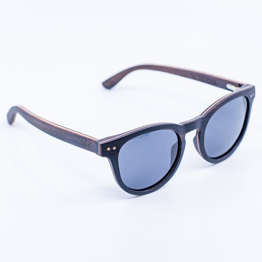 black retro recycled wood sunglasses