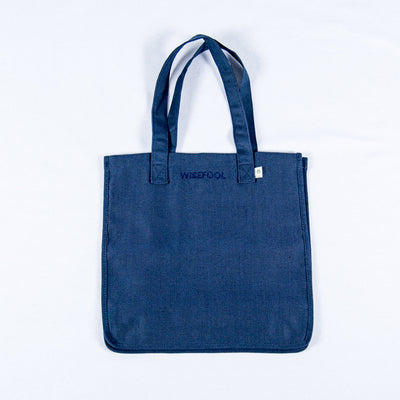 blue hemp tote bag