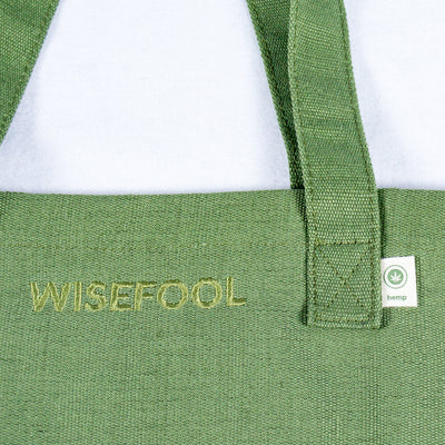 green hemp tote bag