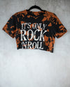 rock n roll black bleach dyed crop top