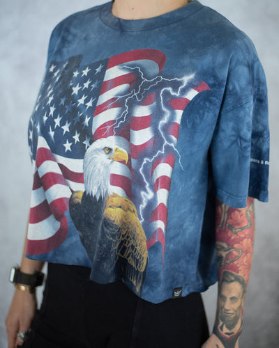 USA American Flag blue ice dye crop top