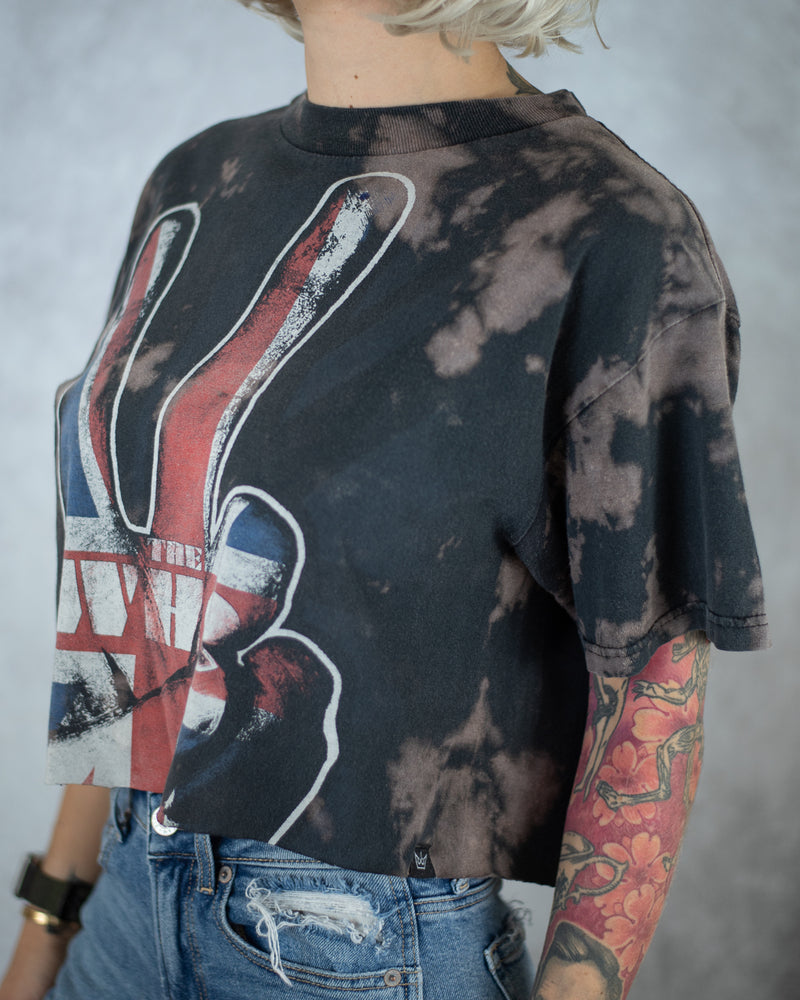 grey bleach dyed union jack peace crop top