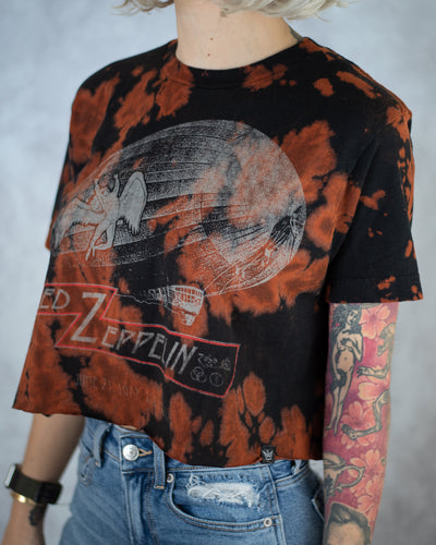 U.S. Tour black bleach dyed crop top