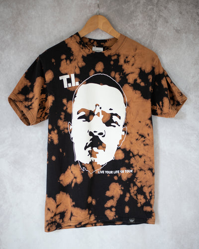Trap music black bleach dye tee