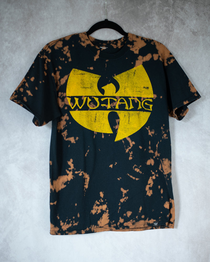 black and yellow bleach dyed tee