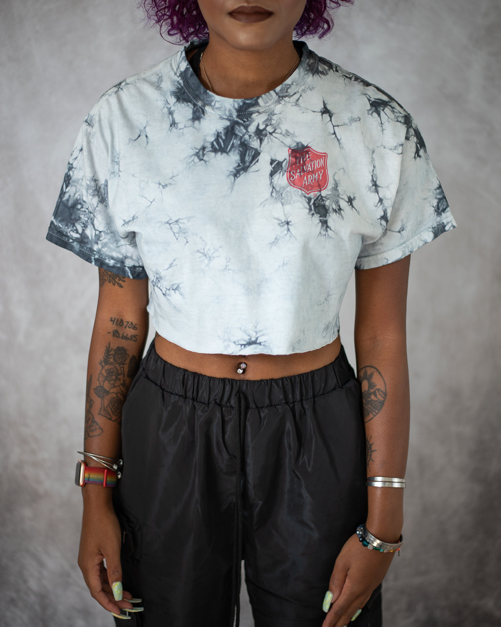 white and carbon grey tie dye crop top