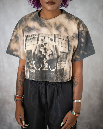 California love grey bleach dyed crop top