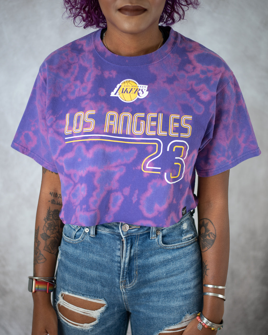 King James purple bleach dyed crop top