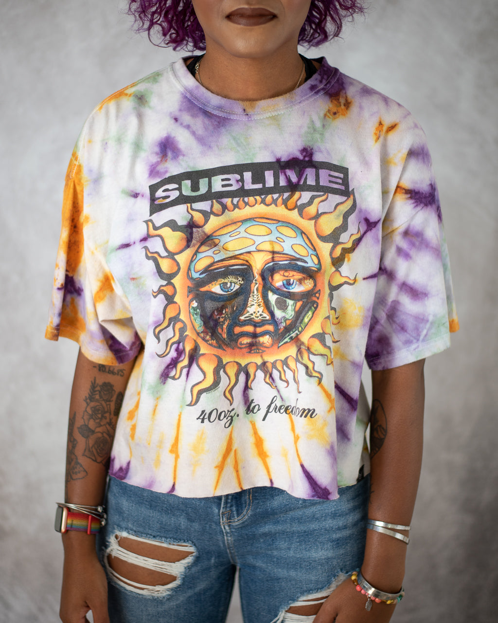white purple green gold tie dye crop top