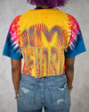 Voodoo Child yellow pink blue tie dye crop top