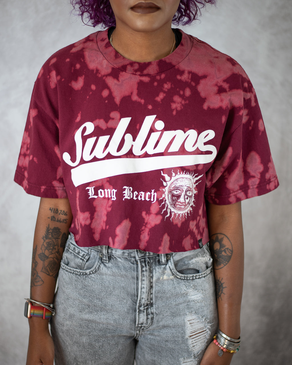 Long Beach red bleach dyed crop top