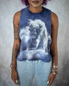 indigo ice dye sleeveless crop top