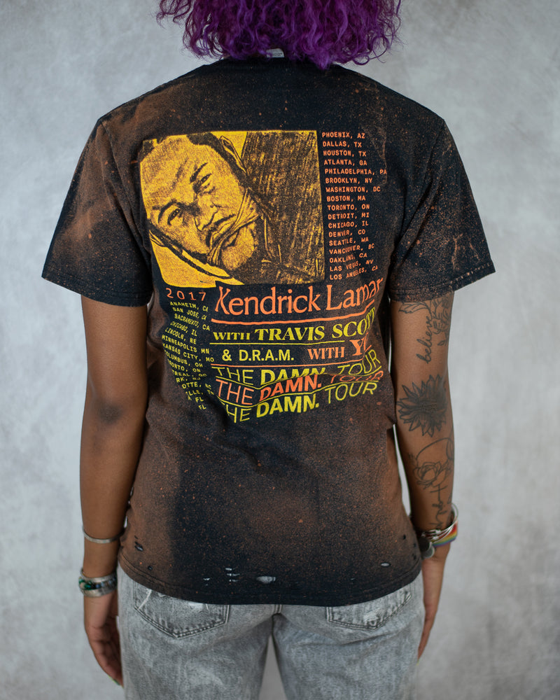 Damn. hip hop bleach dyed distressed tee