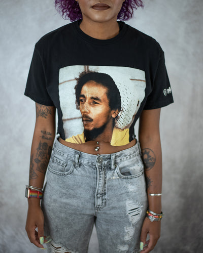 Trenchtown portrait black crop top