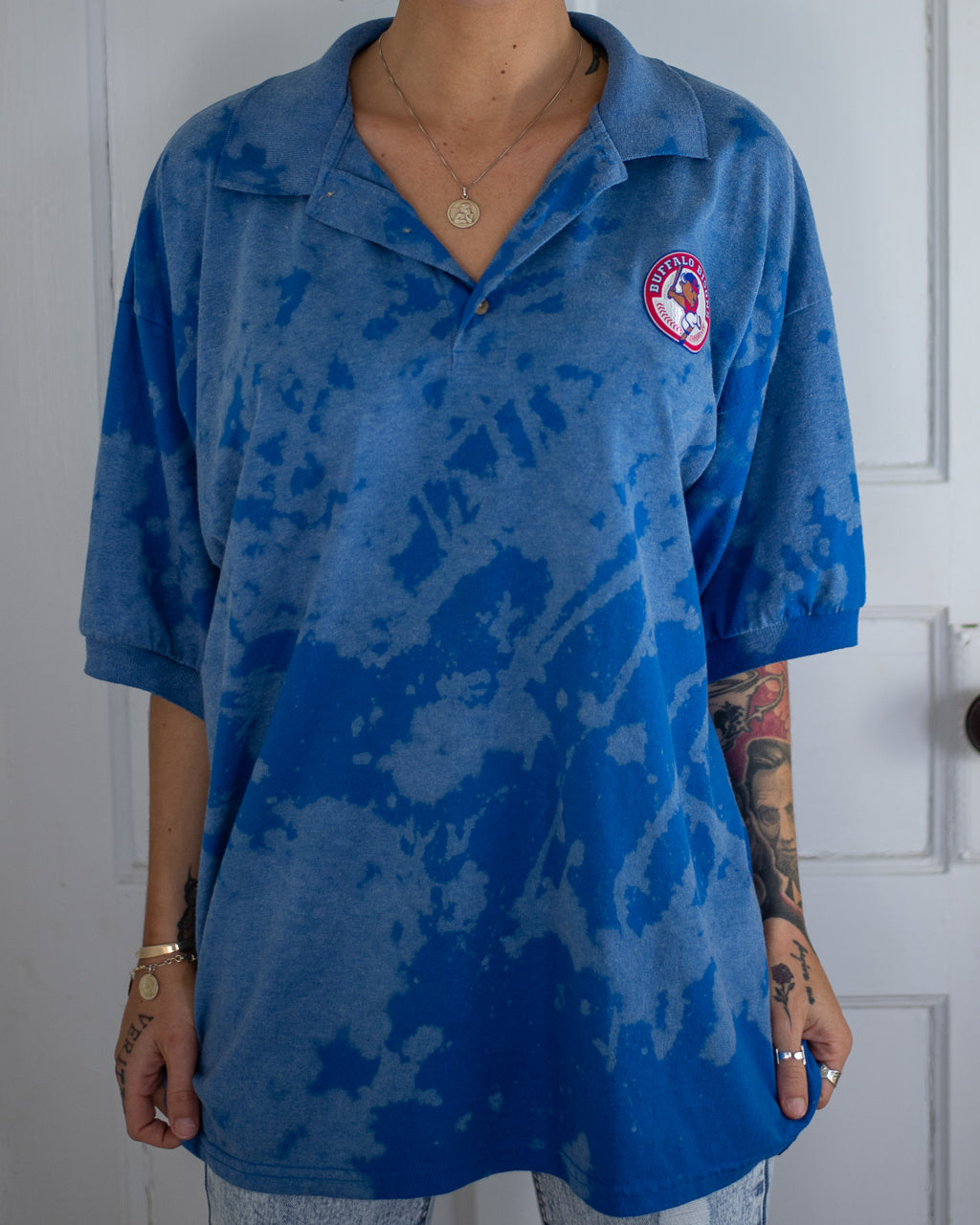 Bisons blue bleach dye polo